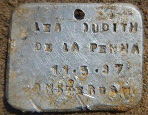 Naamplaatje Judith de la Penha